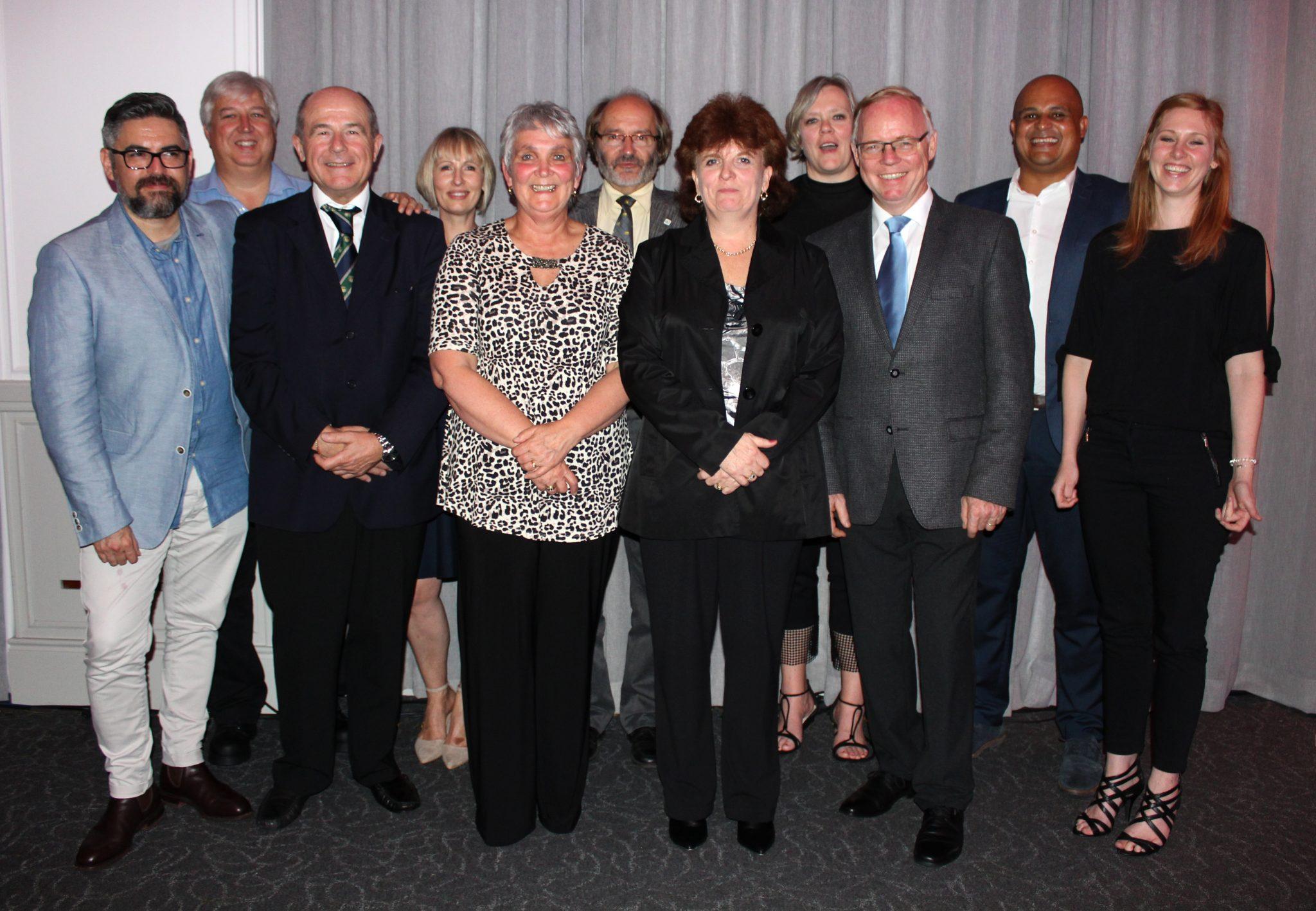From l.t.r.: Dr Sigfredo Fuentes (Australia), prof Francois Halleen (SASEV Board member), prof Vittorino Novello (Italy), Melané Vivier (Univ. Stellenbosch), Roleen Carstens (President – SASEV), prof Manfred Grossman (Germany), Anel Andrag (Winetech), prof Maret du Toit (Univ. Stellebosch), Prof Reinhard Töpfer (Germany), Gerard Martin (Winetech) and Tarryn Wettergreen (SASEV Board member).